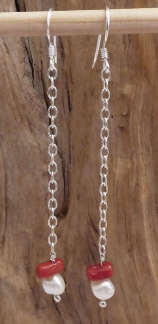 Boucles d'oreille Chaîne Argent 925, Corail et Perle - Spécial Doudou