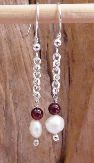 Boucles d'oreille Chaîne Argent 925, Grenat et Perle - Spécial Doudou