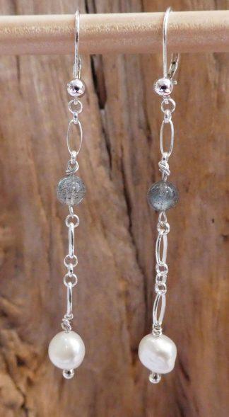 Boucles d'oreille Chaîne Argent 925, Labradorite et Perle