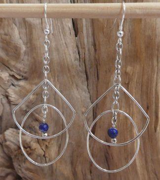 Boucles d'oreille Argent 925; en fil ovale et goutte et Lapiz Lazuli 4mm