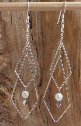 Boucles d'oreille Argent 925, e, fil, forme losange et Perle blanche