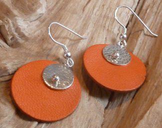 Boucles d'oreille Argent 925 petit rond martelé bouterolle et Cuir orange rond