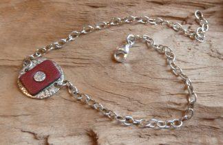 Bracelet souple Argent 925, rond, martelé et Cuir bordeau rectangle, brillant