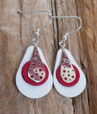 Boucles d'oreille Argent 925, en forme de goutte avec des trous et Cuir blanc et rouge - Spécial Doudou