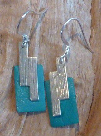 Boucles d'oreille Argent 925, forme tetris et Cuir turquoise