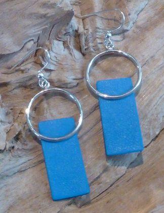 Boucles d'oreille Argent 925, en cercle et Cuir bleu électrique en rectangle