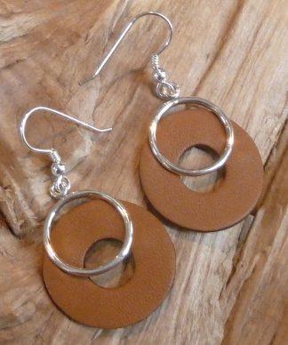 Boucles d'oreille Argent 925 en cercle et Cuir brun clair en cercle