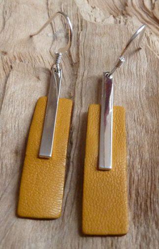 Boucles d'oreille Argent 925 en rectangle fin et Cuir jaune moutarde forme rectangle