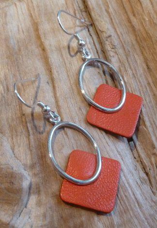 Boucles d'oreille Argent 925 cercle ovale et Cuir orange, forme carré