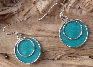 Boucles d'oreille Argent 925 deux cercles et Cuir turquoise, forme ronde