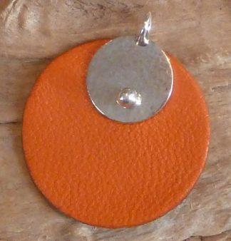Pendentif Argent 925 petit rond martelé bouterolle et Cuir orange rond