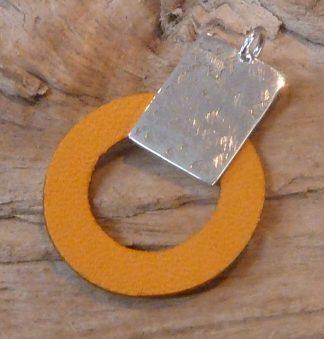 Pendentif Argent 925, forme rectangle et Cuir, forme disque, jaune
