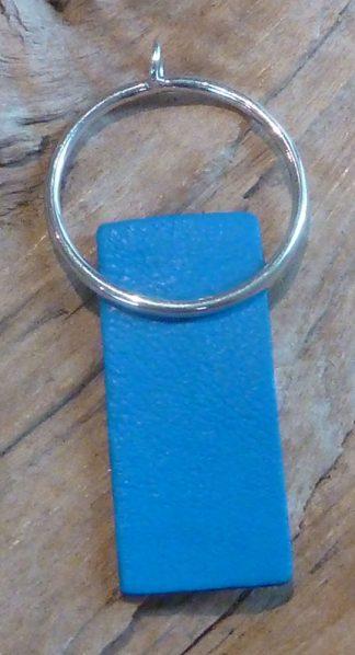 Pendentif Argent 925 en cercle et Cuir bleu électrique forme rectangle
