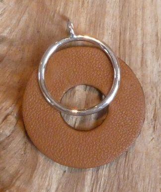 Pendentif Argent 925 en cercle et Cuir brun clair en cercle