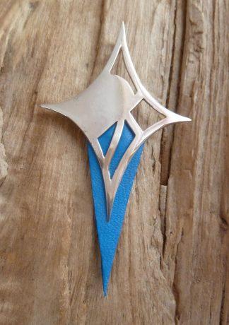 Pendentif Argent 925 losange découpé et Cuir bleu électrique en pointe, brillant