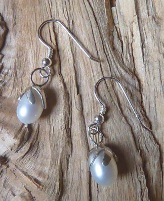 Boucles d'oreille en Argent 925 et Perle blanche