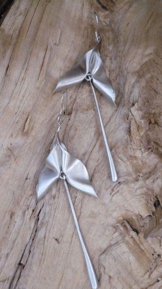 Boucles d'oreille sculpturale Papillon Argent 925 Mat