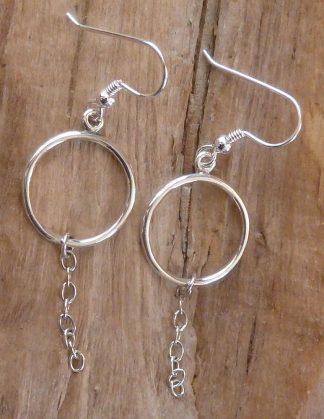 Boucles d'oreille Argent 925 cercle et chaîne Ancre Ovale
