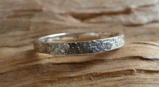 Bague Argent 925 simple anneau, martelé pois