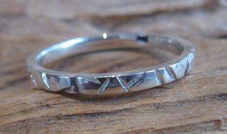 Bague Argent 925 simple anneau, martelé lignes