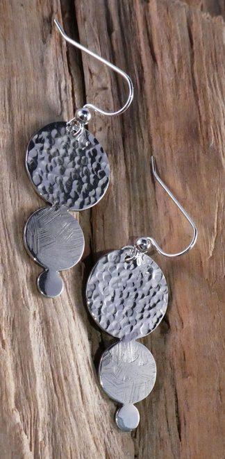 Boucles d'oreille Argent 925, 3 ronds de tailles et de martelages différents