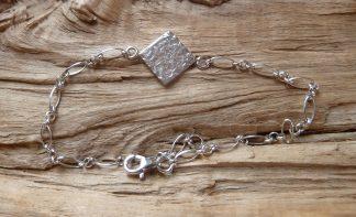 Bracelet Argent 925 carré, martelé mêlé