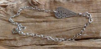 Bracelet Argent 925 en forme de goutte en percé de trous de tailles différentes