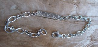 Bracelet Argent 925 rectangle horizontale, chaîne ovale