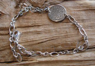Bracelet Argent 925 rond, martelé bouterolle, chaîne ovaux de différentes tailles