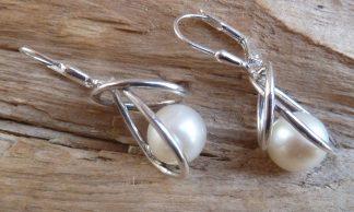Boucles d'oreille Argent 925 et Perle blanche d'eau douce ronde