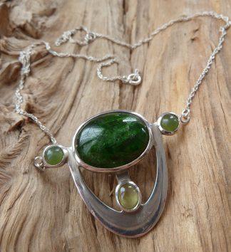 Pendentif Argent 925, Diopside, Chrysobérile et Jade, pierres vertes