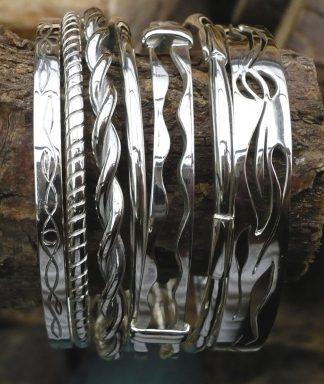 7 Bracelets durs en Argent 925