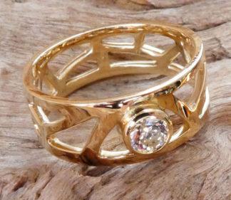 Alliance Femme Or 18 Carat et Diamant - Fortement découpée