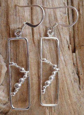 Boucles d'oreille en fil d'Argent 925 forme rectangle et perles d'argent