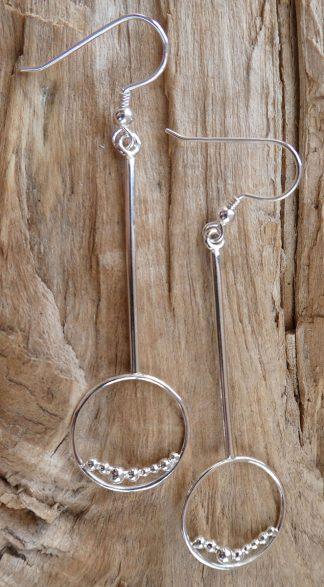 Boucles d'oreille en fil d'Argent 925 forme ronde et perles d'argent