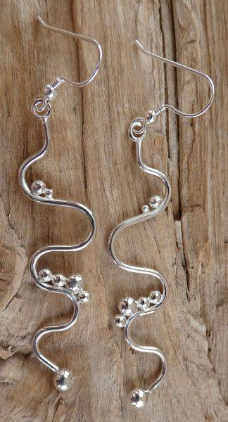 Boucles d'oreille en fil d'Argent 925 forme serpentine et perles d'argent