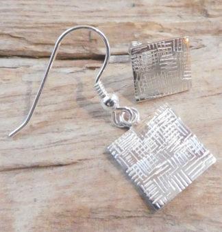 Boucles d'oreille et Perceuse Argent 925, forme carrée, martelé patchwork