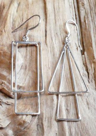 Boucles d'oreille Argent 925 en fil, forme carré dans carré et forme traingle dans triangle