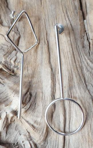 Perceuses Argent 925 en fil, forme ronde et losange avec une barre