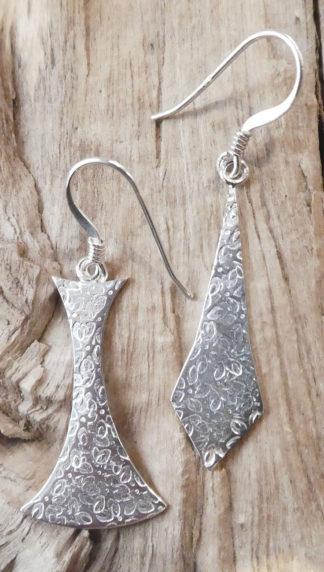 Boucles d'oreille Argent 925, forme spéciale et losange, martelé fleur, brillant