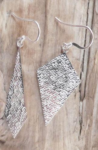 Boucles d'oreille Argent 925 forme losange de hauteur et largeur différentes - Martelé Diamant