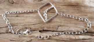 Bracelet Argent 925 forme carrée avec des boules d'argent à l'intérieur