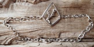Bracelet Argent 925 forme losange avec des boules d'argent à l'intérieur